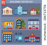 modern  flat vector  buildings... | Shutterstock .eps vector #186713756