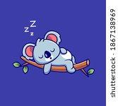 cute koala sleeping on the tree ... | Shutterstock .eps vector #1867138969