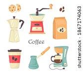 Vector Set Of Barista Coffee...