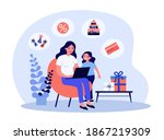 mom and little daughter... | Shutterstock .eps vector #1867219309