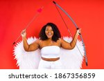 Small photo of american woman matchmaker in red background valentine day