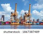 empty industrial port with...   Shutterstock . vector #1867387489