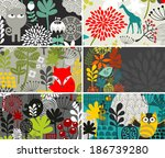 set of horizontal cards with... | Shutterstock .eps vector #186739280