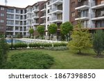 the courtyard of a high rise... | Shutterstock . vector #1867398850
