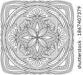 mandala with abstract flowers... | Shutterstock .eps vector #1867407379