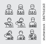 people eating vector line icons | Shutterstock .eps vector #1867416163