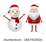 santa claus and snowman in a... | Shutterstock . vector #1867433026