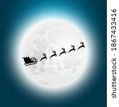 santa claus flies with gifts on ... | Shutterstock . vector #1867433416