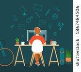 schoolboy is doing homework... | Shutterstock .eps vector #1867484506