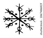doodle snowflake in simple... | Shutterstock .eps vector #1867486819