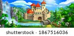 medieval fairytale castle with... | Shutterstock .eps vector #1867516036