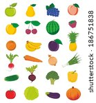 vector fruits and vegetables | Shutterstock .eps vector #186751838