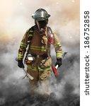 a firefighter pierces through a ... | Shutterstock . vector #186752858