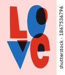 word love postcard in flat...   Shutterstock . vector #1867536796