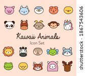 bundle of twenty kawaii animals ... | Shutterstock .eps vector #1867543606