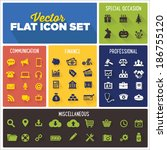 flat icon vector set  ... | Shutterstock .eps vector #186755120