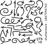 set of arrow vectors drawn by... | Shutterstock .eps vector #1867596763