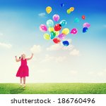 little girl playing with... | Shutterstock . vector #186760496