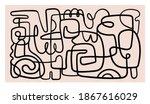 mid century modern minimalist... | Shutterstock .eps vector #1867616029