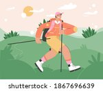 smiling tourist with sticks and ...   Shutterstock .eps vector #1867696639