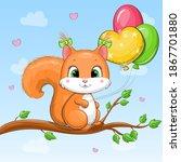 Cute Cartoon Squirrel Holding...
