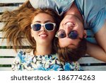 close up portrait of happy...   Shutterstock . vector #186774263