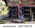 Small photo of Samosir Island – Nov 16, 2020: Sigale Gale or Si Gale-Gale is a wooden puppet used in a funeral dance performance of the Batak people in Lake Toba, Northern Sumatra, Indonesia.