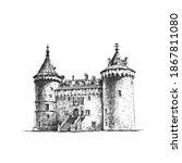 medieval castle. vector hand... | Shutterstock .eps vector #1867811080