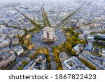 Aerial view of arc de triomphe  ...