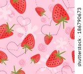 strawberry yogurt seamless... | Shutterstock .eps vector #186790673