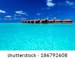 overwater villas in blue...   Shutterstock . vector #186792608