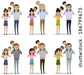portrait of happy family... | Shutterstock .eps vector #186799673