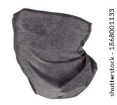 Small photo of Grey neck gaiters three quarters view. Isolated on white, clipping path included