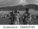 Small photo of Kuyawage, 18 July 2017: View of mountain people while waiting for a free medical treatment at Kuyawage Village, Lanny Jaya, Papua.