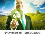 pressing virtual screen...   Shutterstock . vector #186803003
