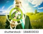 pressing virtual screen...   Shutterstock . vector #186803033