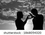 Silhouette Of A Young Girl And...