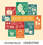 healthy lifestyle icons set  | Shutterstock .eps vector #186805988