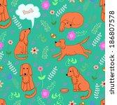 fanny pattern merry spaniel. ...   Shutterstock .eps vector #186807578