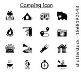 camping icons set vector... | Shutterstock .eps vector #1868192143