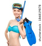 Young Happy Woman With Snorkel...