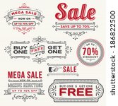hand drawn sale banners | Shutterstock .eps vector #186822500