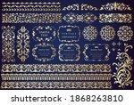 vintage ornament set. borders... | Shutterstock .eps vector #1868263810