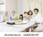 three generation family having... | Shutterstock . vector #186828149