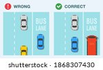 bus lane rule. correct and... | Shutterstock .eps vector #1868307430