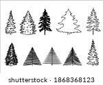 set of different fur trees.   Shutterstock . vector #1868368123