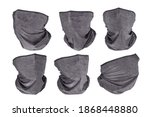Small photo of Grey neck gaiters six views set with different face rotation. Isolated on white, clipping path included