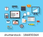 business and office flat icons  ... | Shutterstock . vector #186850364