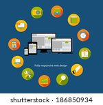 responsive web design icon. ... | Shutterstock . vector #186850934