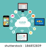 cloud computing concept on... | Shutterstock . vector #186852839